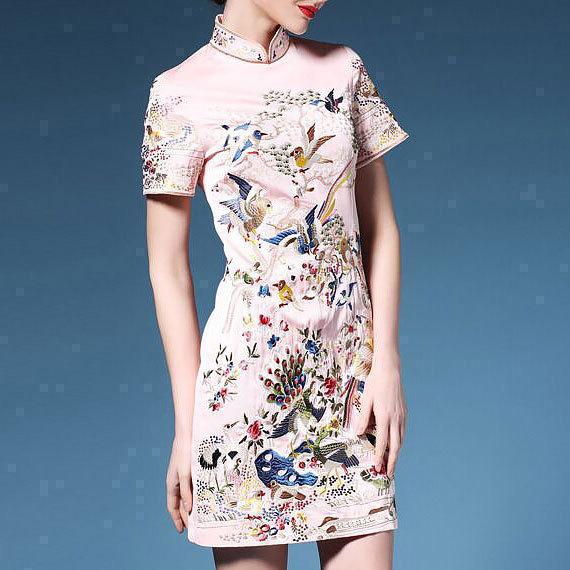 中国风2018春夏新款女装高端复古短袖刺绣修身改良旗袍连衣裙中长
