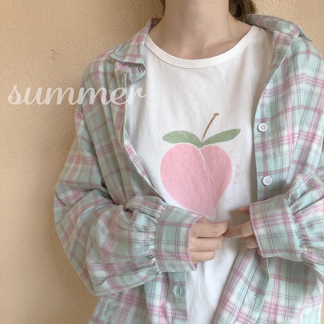 XIN 做旧磨毛 粉嫩宽松 灯笼袖 薄软色系格子衬衫