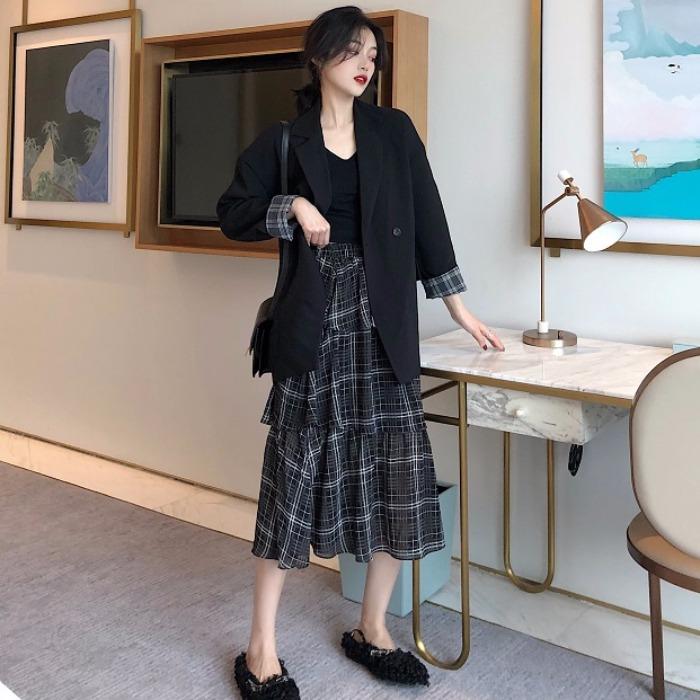 [小宅女大购物 xiaozhainv 小宅女家 xiao zhai nv西装]初春新款韩版女装套装chic格子拼接月销量8257件仅售44.98元