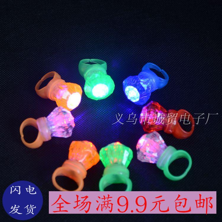 Light emitting LED diamond ring that can be used by adults and children