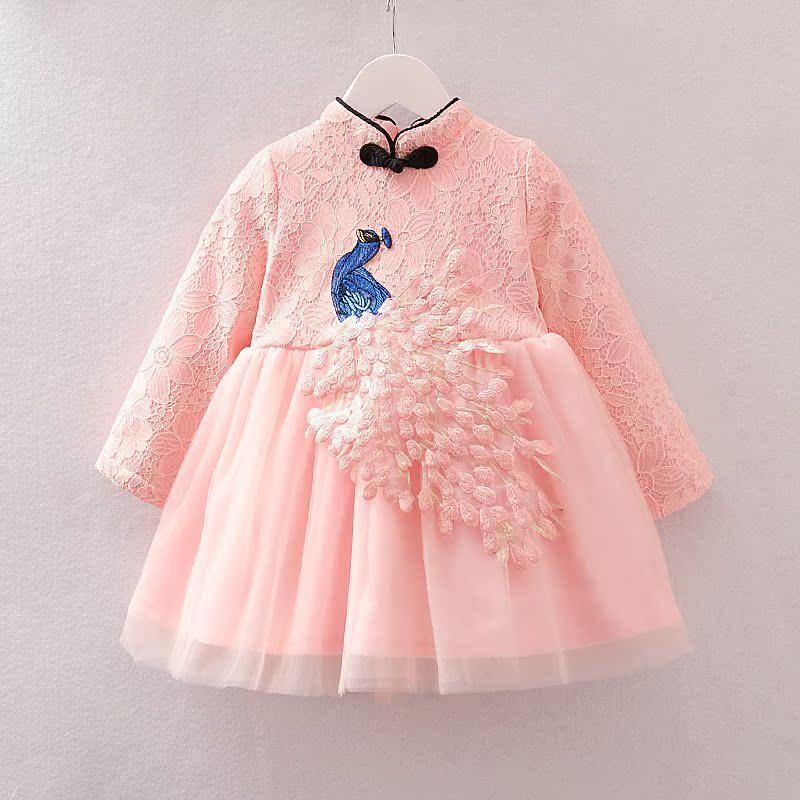 长袖女童冬装旗袍连衣裙2岁女宝宝新款3加绒纱裙4儿童蕾丝公主裙
