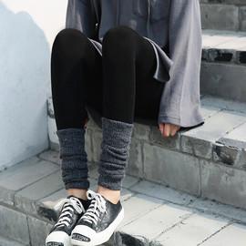 秋季打底裤外穿薄款脚口针织堆堆袜拼接裤袜女黑色九分小脚长裤子