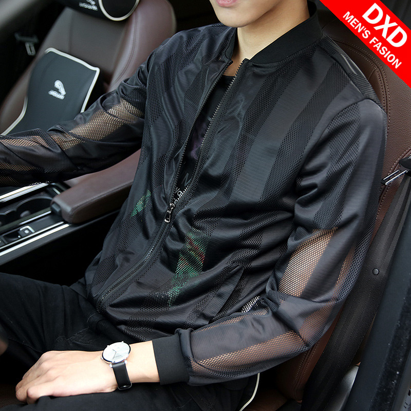 Summer 2020 sunscreen men's ultra thin breathable jacket jacket Korean fashion youth large size hollowed out clothes