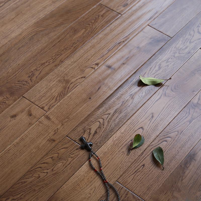 白橡实木地板卧室栎木环保灰色原木地板北欧地热地暖地板厂家直销
