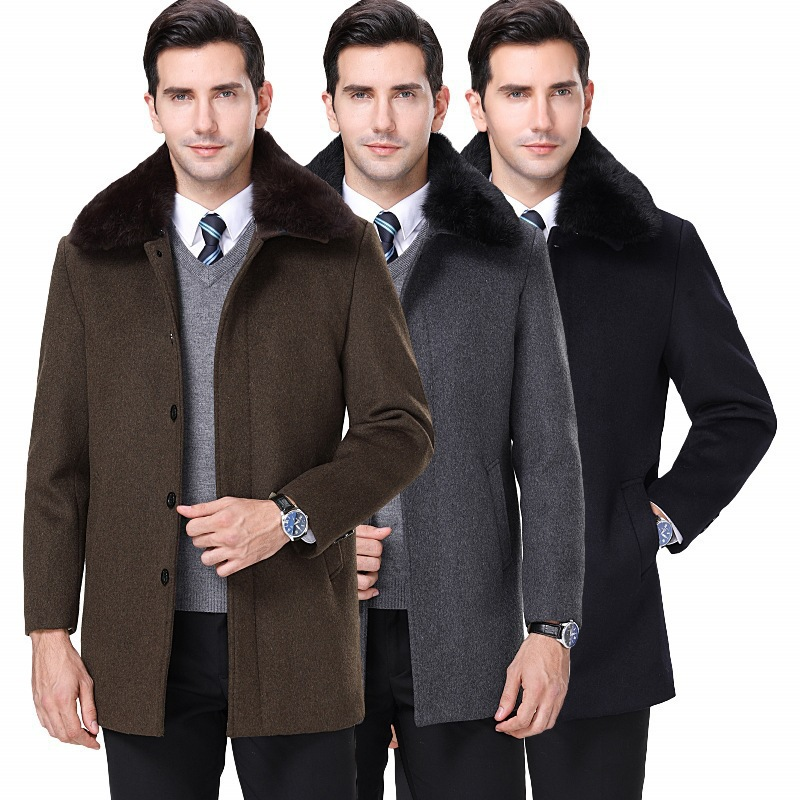 New mens cashmere coat middle age autumn and winter wool jacket mens wear wool collar with cashmere warm woolen coat
