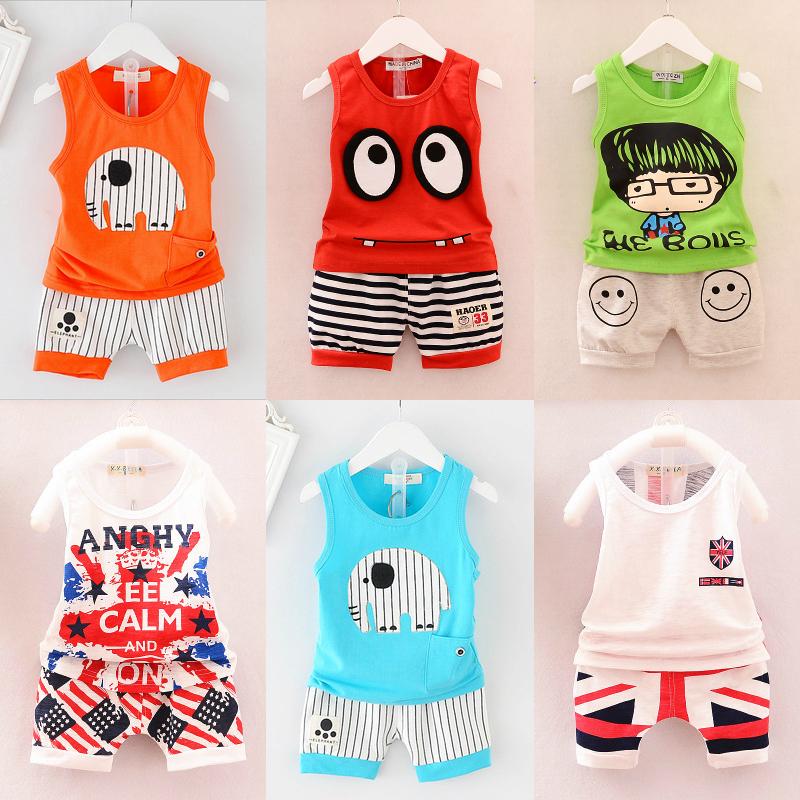 夏款小童衣服男童短袖0-4歲2男寶3兒童背心1周歲夏裝6個月套裝潮