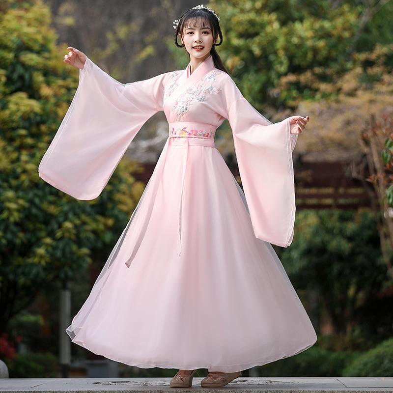 古装女中国风汉服女魏晋风汉服仙气古风仙女古典舞演出服古筝舞蹈