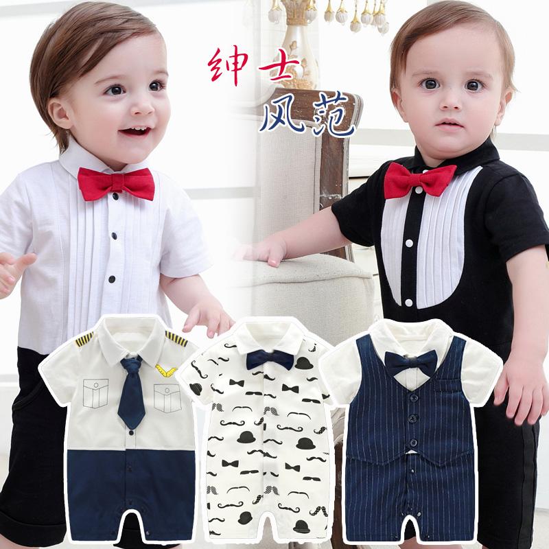 Мужской ребенок короткий рукав ползунки лето небольшой церемонии одежда ребенок купальник одежда хлопок из одежда новорожденных полнолуние полный год