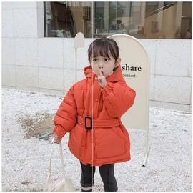 女童棉衣2019新款中长款加厚韩版时尚洋气黑色外套宽松棉服中小童