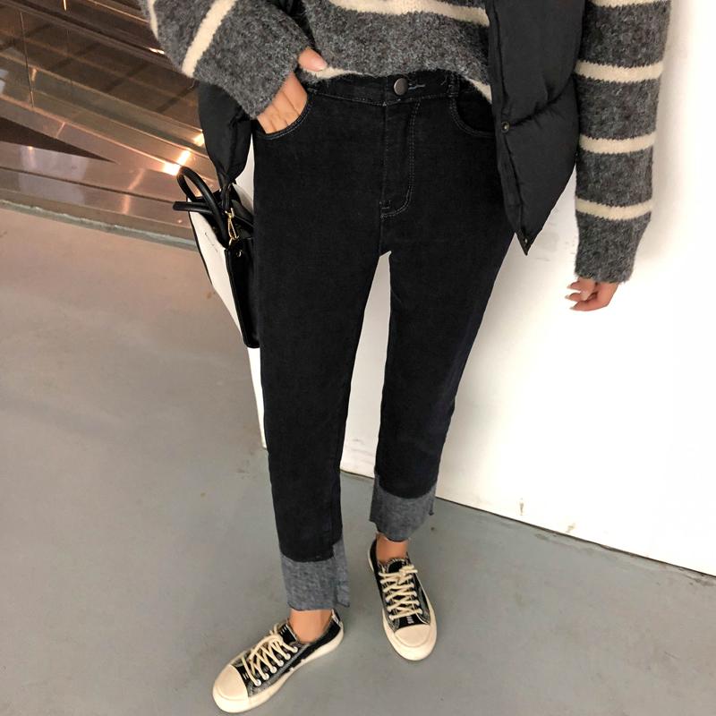 大码女装冬大腿粗的裤子女宽松显瘦直筒加绒微胖妹妹牛仔裤200斤