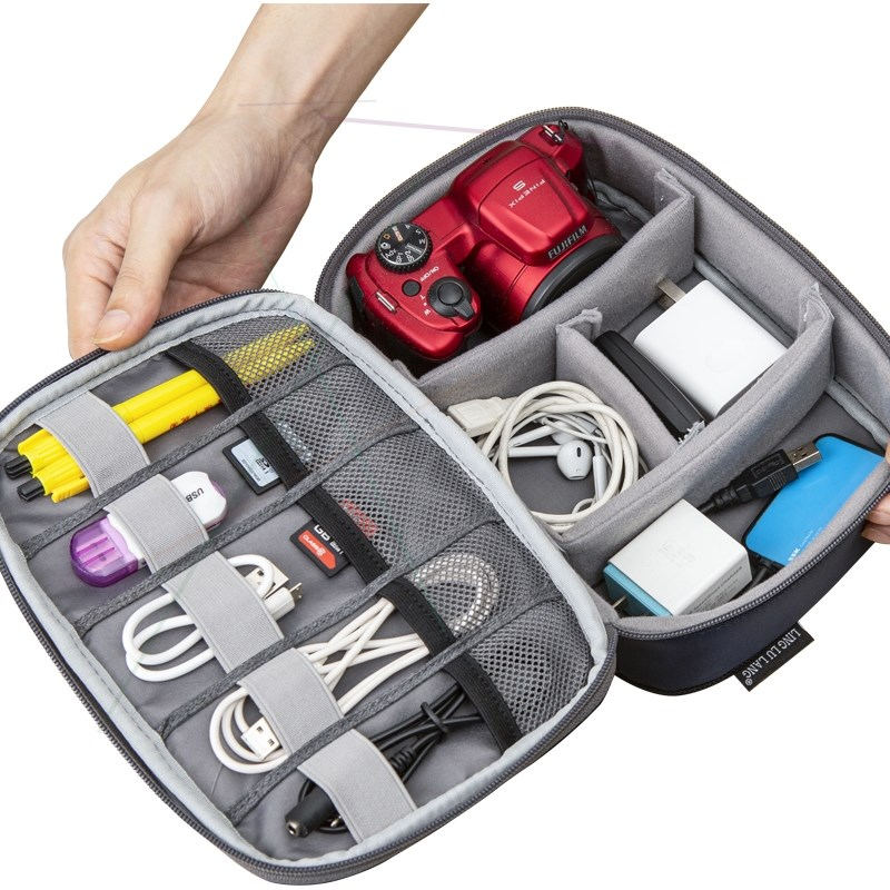 Anti collision anti shock electronic accessories digital bag zipper double bag travel storage bag advanced elastic mouth two color finishing bag