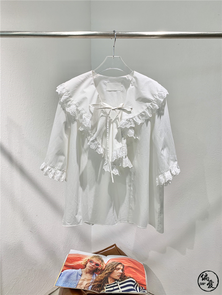 Hong Xiuxian ~ instudio20 spring / summer Korean designer shawl Lace Ruffle collar Lapel short sleeve shirt