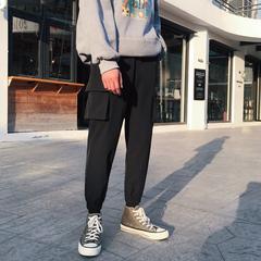 2020春装黑色工装裤男大码束脚休闲裤九分裤 K323P45