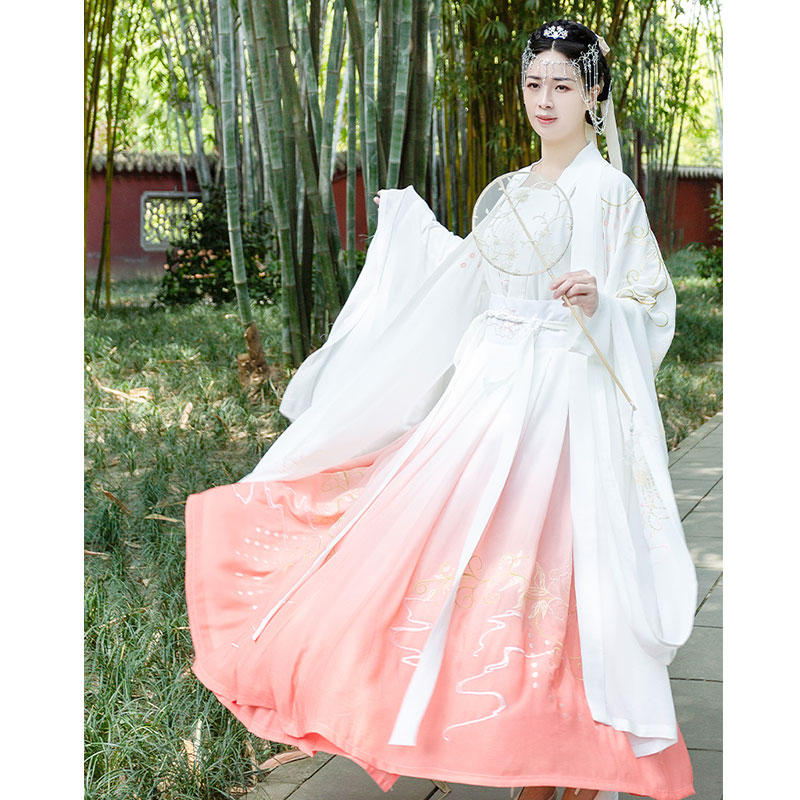 Hangong brocade and silk seeking for a mate: original Hanfu womens embroidered and versatile everyday large sleeve shirt one piece perforated pleated skirt