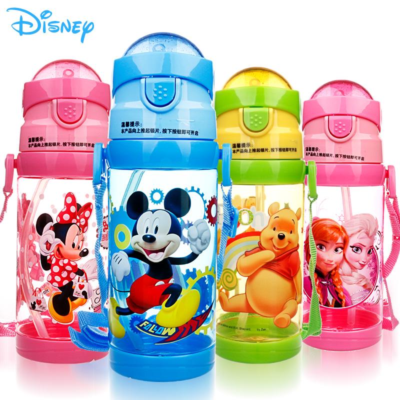 迪士尼寶寶水杯吸管杯米奇杯子卡通塑料杯正品 兒童水杯帶吸管