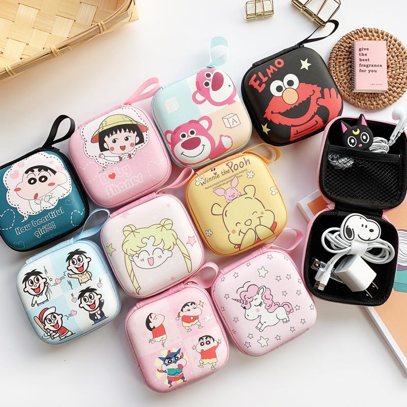 日韩创意耳机收纳包可爱卡通数据线充电器收纳盒迷你零钱包防摔女图片