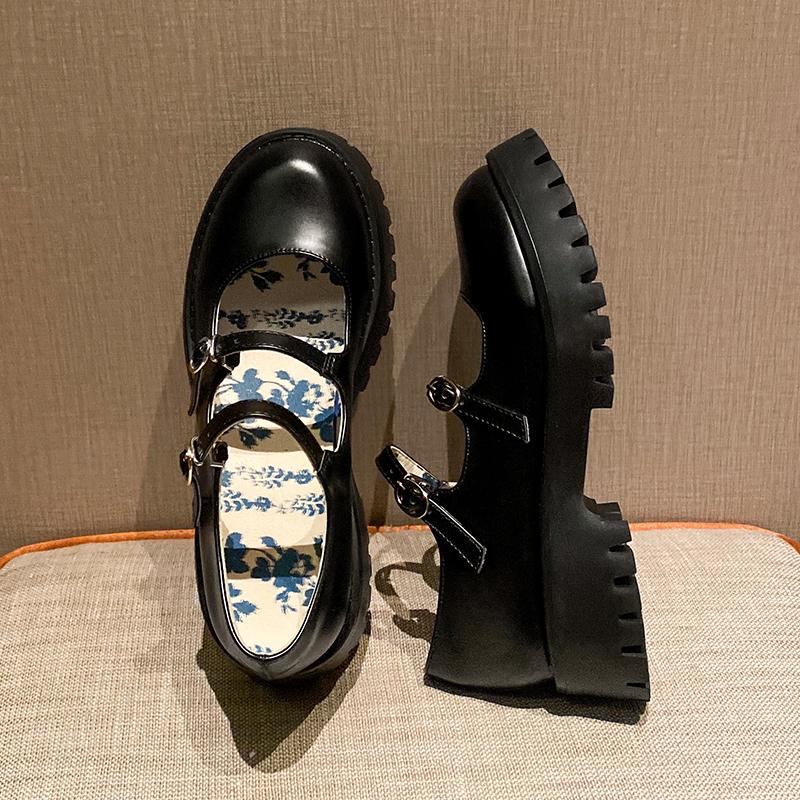 浅口单鞋女2020新款小皮鞋女秋季复古英伦百搭厚底松糕玛丽珍鞋女