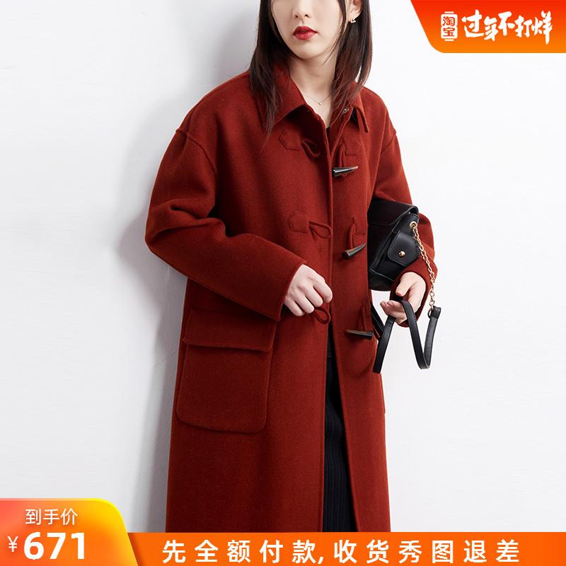 限时671 红色牛角扣双面呢尼羊绒外套红呢子中长款双面羊毛大衣女