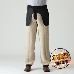 南极人冬季羊羔绒中老年人加绒加厚棉裤男外穿中年男士休闲裤保暖