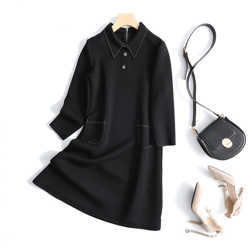 Export tail cargo womens clothing autumn and winter simple temperament Lapel small fragrance A-line skirt ol large space cotton dress