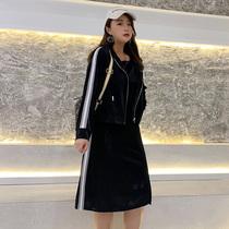 微胖mm套装泫雅风初秋新款2019网红洋气大码女装胖妹妹两件套显瘦