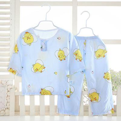 儿童睡衣夏款棉绸中袖长裤男童女童婴幼儿宝宝空调家居服套装薄款