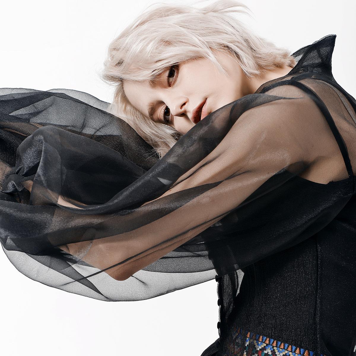 秋冬心机设计感立体泡泡袖透明性感大气网纱百搭质感衬衫套装三宅