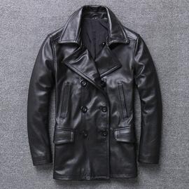 真皮皮衣男头层牛皮夹克中长款男士翻领风衣韩版修身外套 双排扣