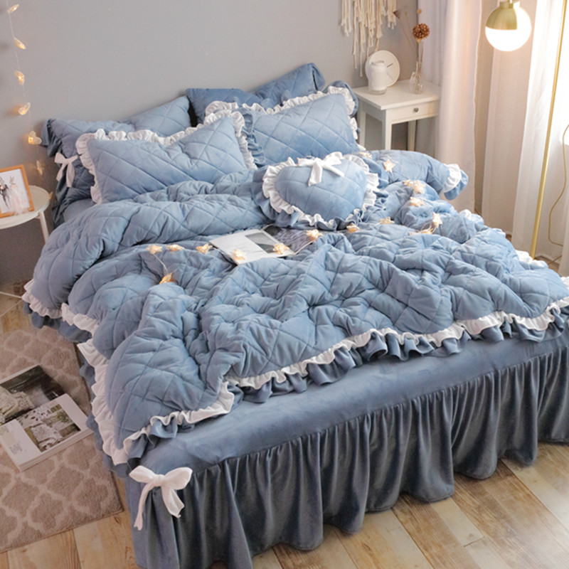 ins韩式加厚夹棉被套水晶绒床裙四件套珊瑚绒法兰绒1.8米床上用品