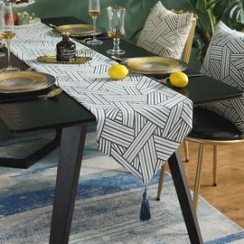 北欧时尚茶几桌旗轻奢家用餐桌中间桌布条茶桌鞋柜盖布电视柜长条