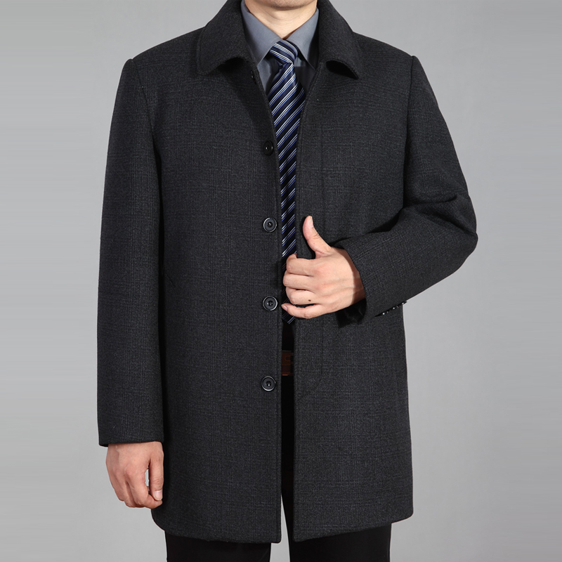 Dad autumn coat mens jacket spring and autumn loose middle-aged and elderly middle-aged long woolen coat fathers coat