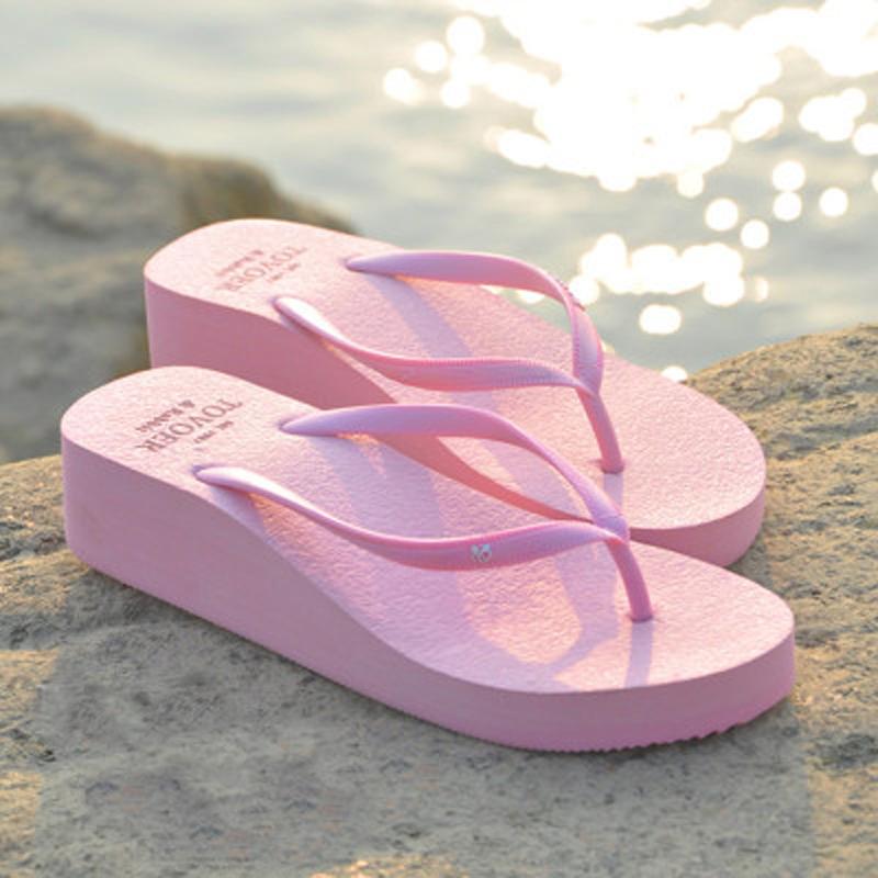 拖鞋女夏外穿人字拖女坡跟厚底防滑简约百搭2019新款时尚沙滩凉拖