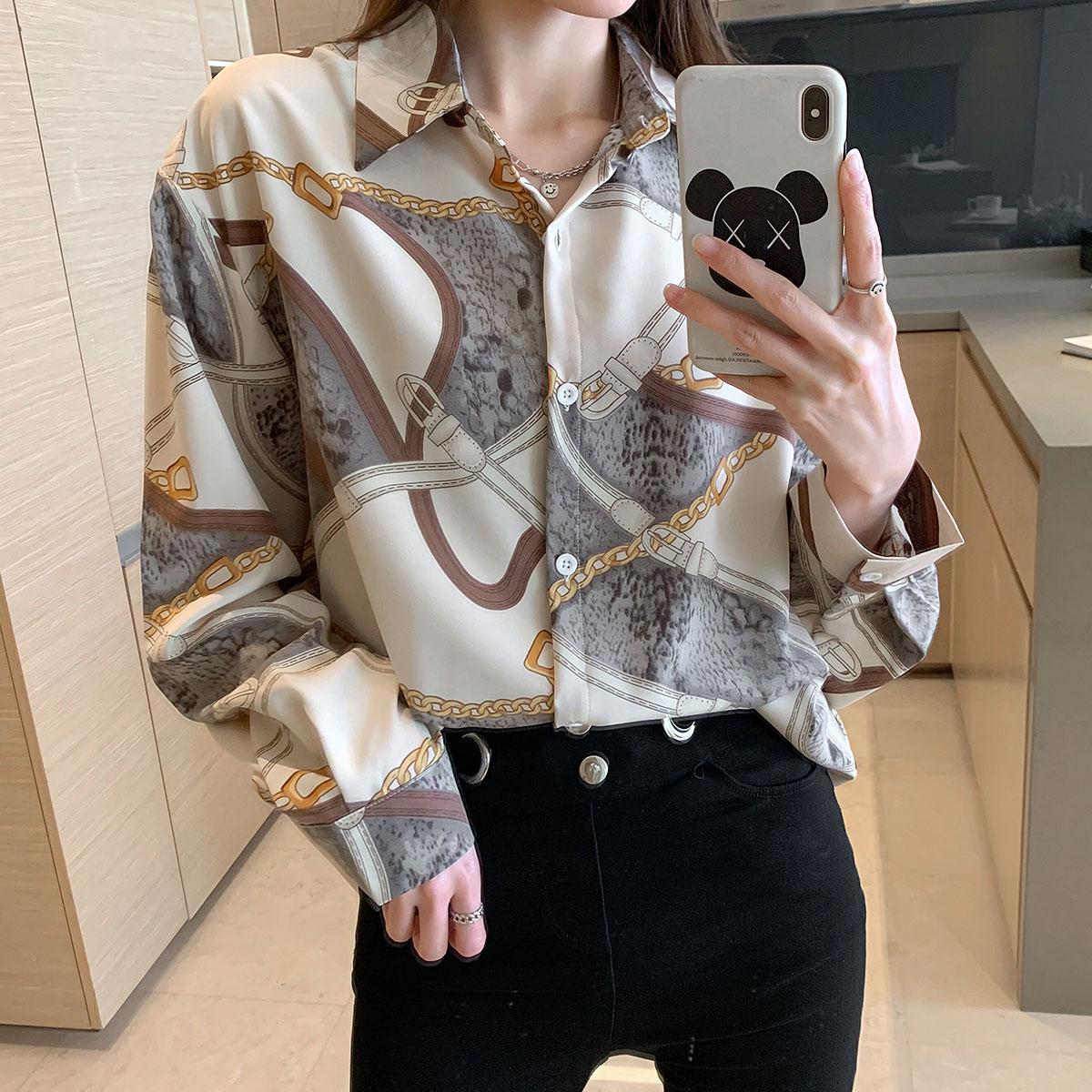 实拍 2021年秋季新款韩版时尚洋气衬衫显瘦拼色长袖百搭外穿
