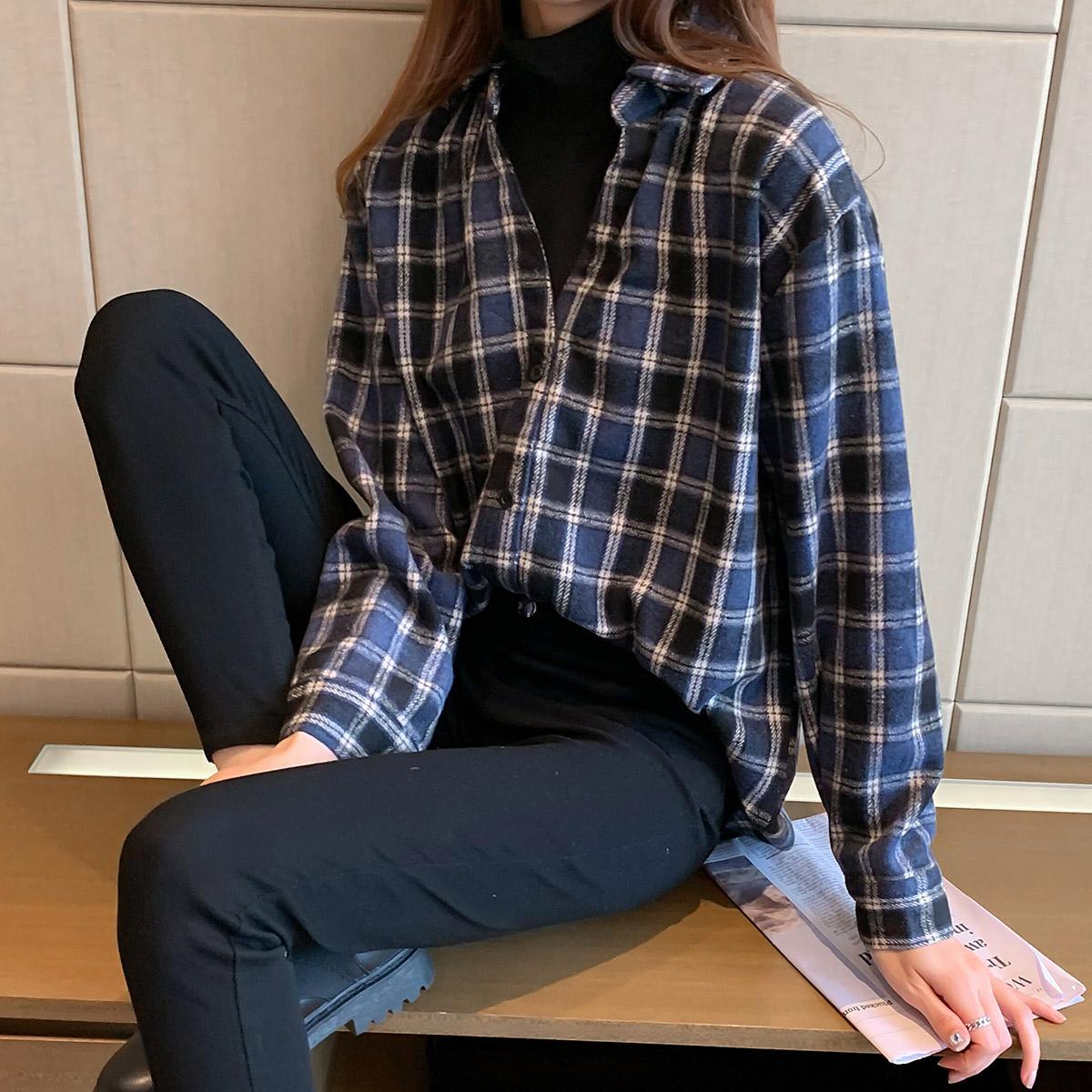 实拍 2021年新款复古格子加厚衬衫女宽松显瘦上衣假两件衬衣 3557