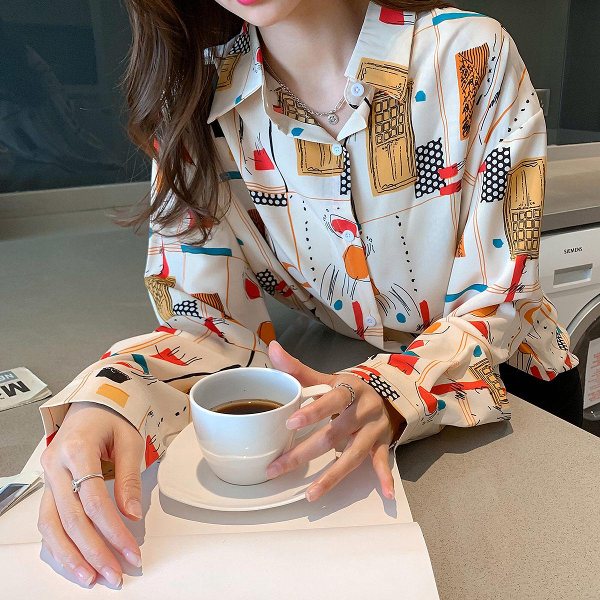 实拍 衬衫女士衬衣设计感小众洋气时尚气质长袖印花2021秋季