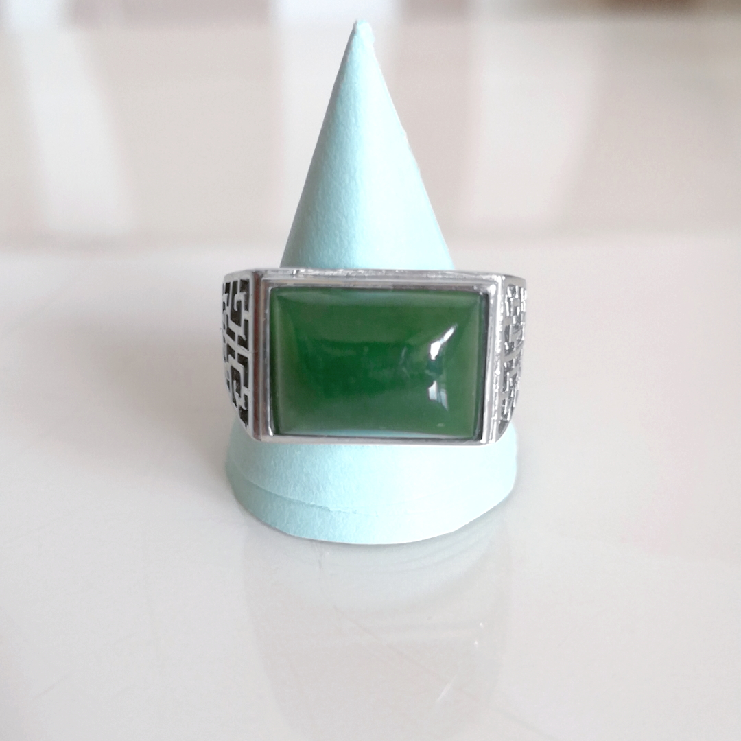 Natural jade and Jasper RING 925 silver male and female jewelry saddle shaped horse to success adjustable package