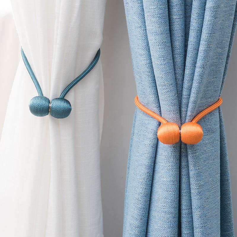 创意窗帘绑带挂球欧式客厅卧室一对装磁铁固定扣花夹束带窗帘绑绳