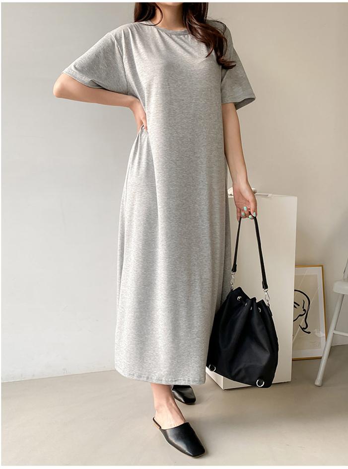 2020年夏季新款韩版大码女装长款连衣裙圆领莫代尔短袖宽松长裙