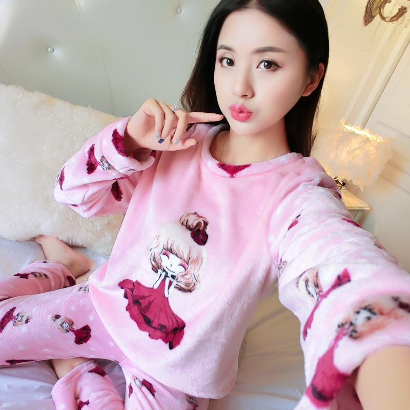 珊瑚绒睡衣女法兰绒加厚清仓甜美可爱韩版卡通加绒套装秋家居服冬