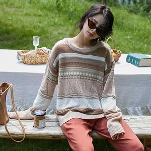 亚博娱乐平台入口秋新品学生撞色条纹圆领长袖针织衫韩版气质温柔毛衣上衣