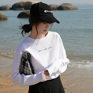 实拍2019秋季新款韩国东大门chic简约百搭宽松打底字母T恤