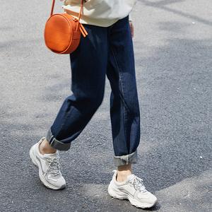 實拍牛仔褲女新款寬松韓版顯瘦老爹褲學生闊腿九分直筒褲