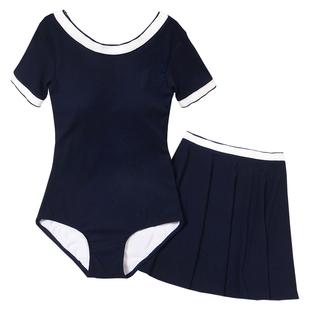 新款连体女纯色修身显瘦半袖泳衣