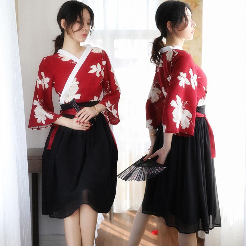 外国貿易の新型のプリントシフォンのスカートの漢服の役は情趣の下着の日本式のかわいい寝るスカートの優雅な黒いスカートを演じます。
