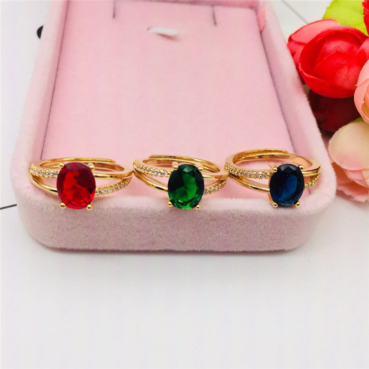 Vacuum plated jewelry brass gold-plated jewelry micro Set Oval Gemstone Ring womens fashion accessories gift