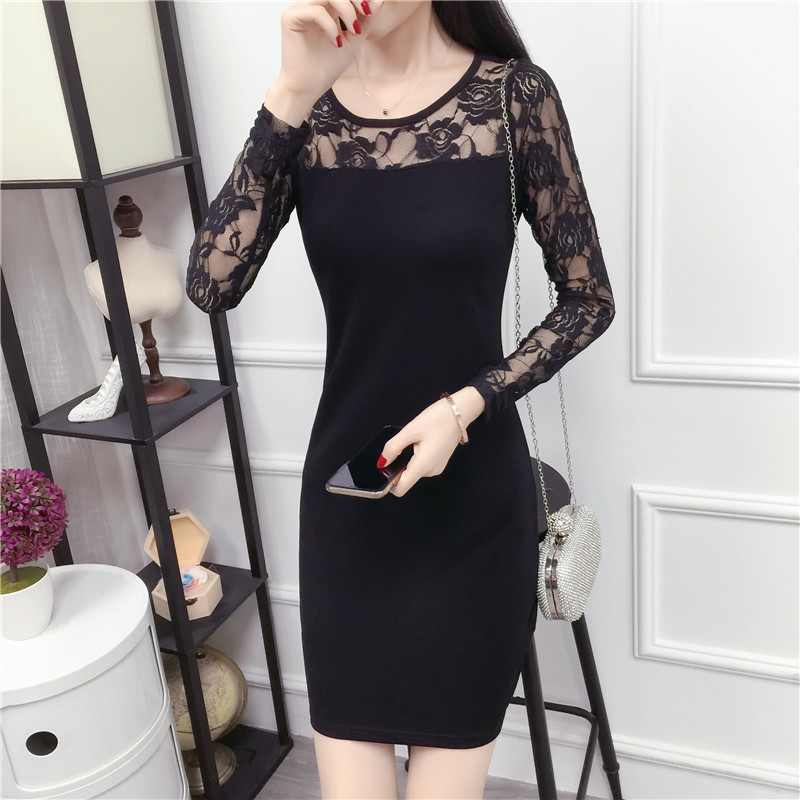 Autumn and winter mesh dress womens new Korean version slim fit with sexy lace cover buttock medium length thick bottomed skirt