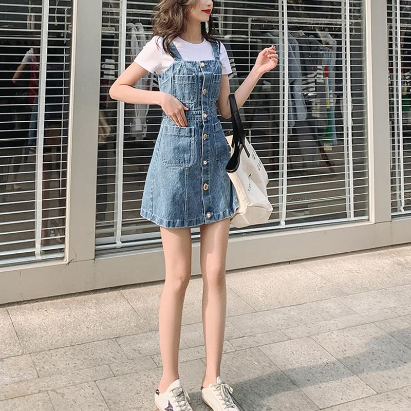Denim strap skirt womens 2020 summer new single breasted slim age reduction high waist small suspender BM skirt