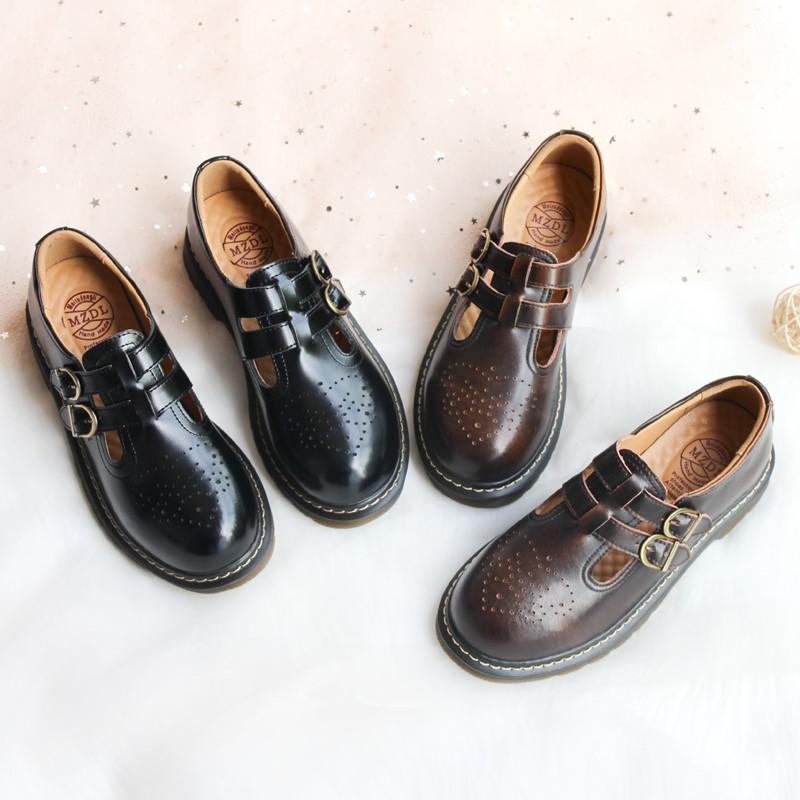 日系ローヒール学院風人形制服靴森ガール仙女靴ロレッタ靴靴靴靴底の中のヒール靴