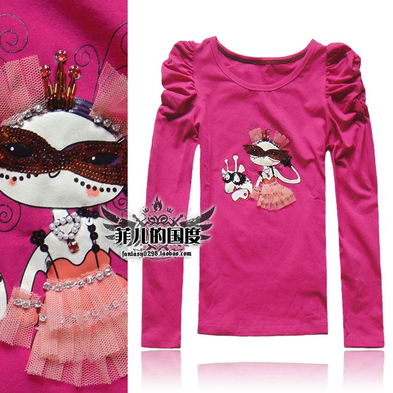 秋季新款戴面具的小魔女 泡泡圆领修身长袖T恤女打底衫潮短上衣