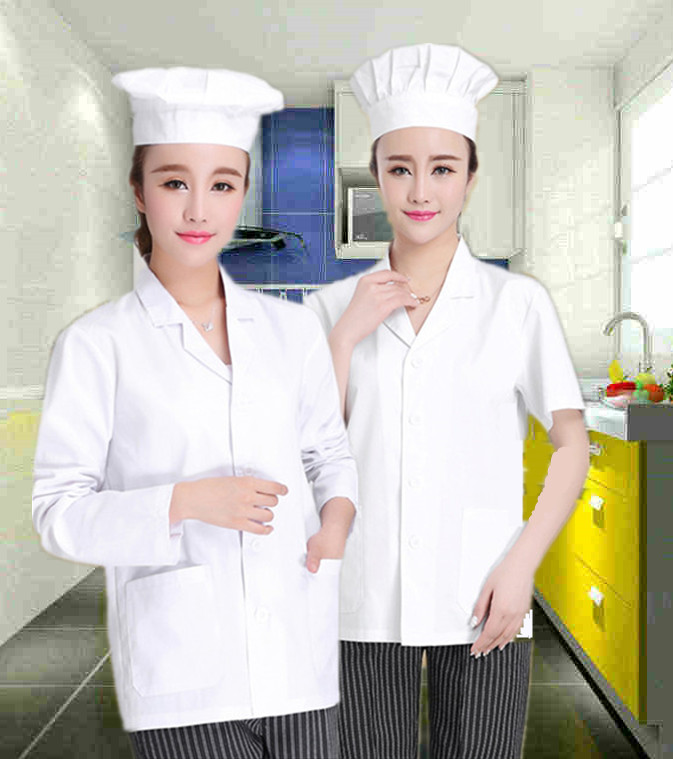 Canteen staff summer breathable chef work clothes womens school kindergarten kitchen clothes white short sleeve food factory clothes